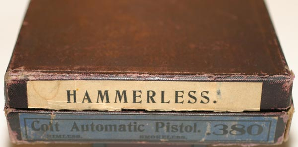 Colt Model 1908 Pocket Hammerless .380 ACP factory box for the Type III (ca. 1915)