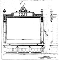An original factory blueprint for an early Colt display.